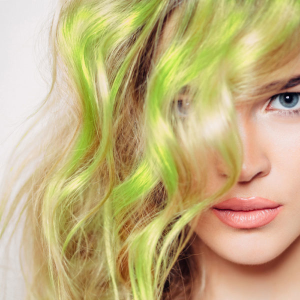 Colorme Lime Temporary Hair Color on Light Hair
