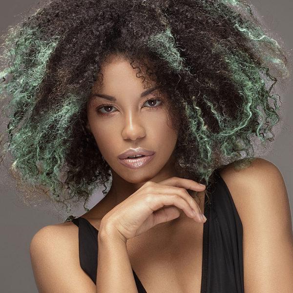 Colorme Mint Temporary Hair Color on Dark Hair