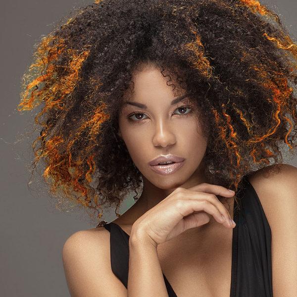 Colorme Tangerine Temporary Hair Color on Dark Hair
