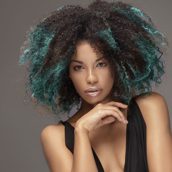 Colorme Turquoise Temporary Hair Color on Dark Hair